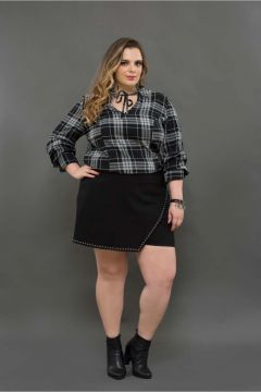 Camisa Plus Size Xadrez Black