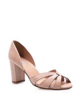 Peep Toe Cross Couro - Fly Nude - Corello