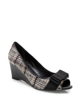 Peep Toe Charlotte Tweed Soft - Preto Gorgurão - Corello