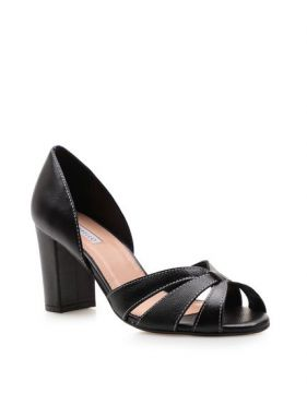 Peep Toe Cross Couro - Fly Preto - Corello