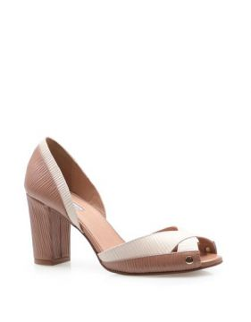 Peep Toe Bicolor Couro Marrakesh - Off White - Corello