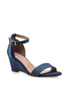 Anabela Patchwork Wedge Tecido Jeans - Colors - Corello
