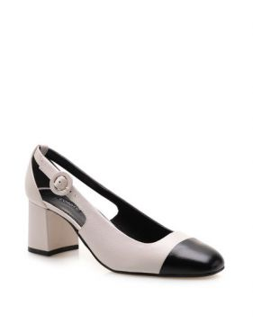Scarpin Cap Toe Slingback Couro Fly Preto - Off White - Core