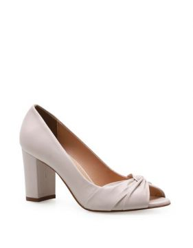 Peep Toe Pleated - Couro Fly Off White - Corello