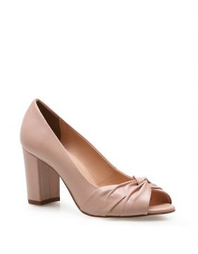 Peep Toe Pleated - Couro Fly Rosa - Corello