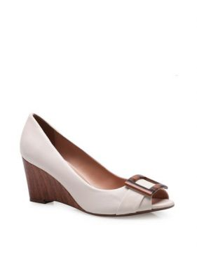 Peep Toe Wood Detail - Couro Off White - Corello