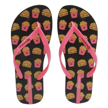Chinelo Lovely Fast Food II Feminino Rosa / Preto