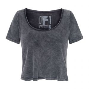 Blusa cropped fit - cinza