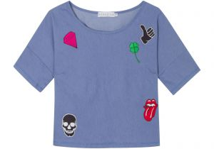 Blusa cropped patches - azul