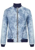 Jaqueta jeans bomber stained - azul