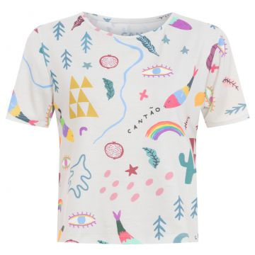 T-shirt Baby Look Elementos - Off White - Cantão