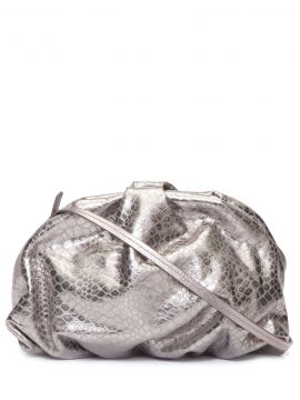 Bolsa Maxi Clutch Avril Croco Metallic - Prata - Schutz