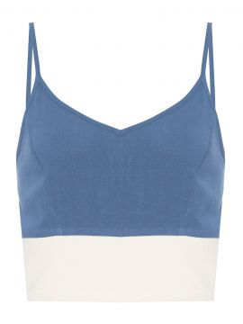 Blusa Cropped Natural - Azul - Basiq