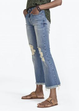 Calça Jeans Flare Cropped Com Destroyed - DZARM