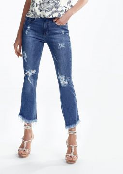 Calça Jeans Cropped Flare Com Destroyed - DZARM