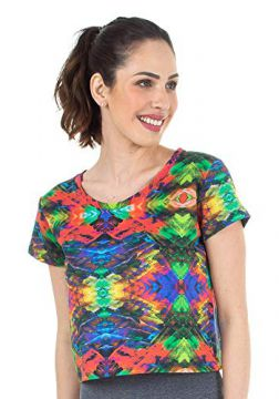Top Cropped Estampa Multicolorido
