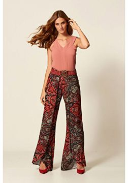 Calça Pantalona Estampa Red Scarf Estampado