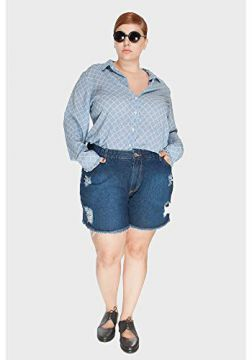 Short Jeans Upcycle Stone Plus Size Azul-48