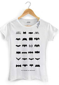 Camiseta Batman 75 Anos Logo Collection Branca