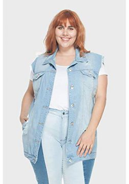 Colete Oversized Delavê Upcycle Plus Size Azul-56