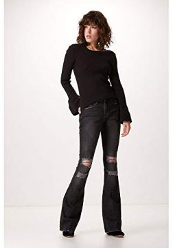 CALÇA FLARE BASIC BLACK DESTROYED-PRETO