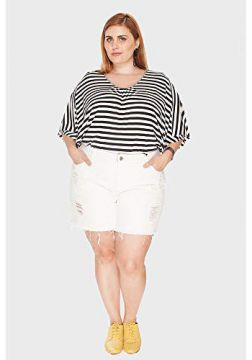 Short Destroyed Plus Size Off White-48