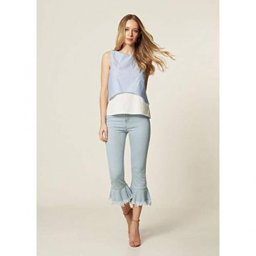 Calça Jeans Flare Cropped Delave