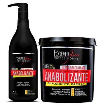 Kit Fortificante Capilar Forever Liss Shampoo 1L e Máscara 9