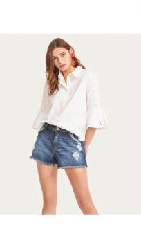 Short Jeans Bolso Desfiado - Shoulder