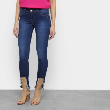 Calça Jeans Skinny Coffee Destroyed Feminina 8eeed57861f13