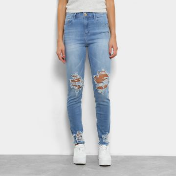 Calça Jeans Skinny Coca-cola High Destroyed Cintura Alta Fem