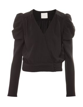 Top Cropped Crepe Preto Basic - Framed