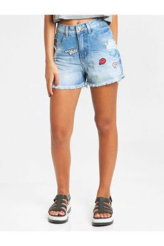Short Jeans Glamour Collection Patches Azul Claro