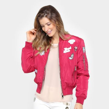 Jaqueta Zune Bomber De Nylon Com Patches