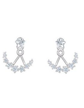 Moonsun Pierced Earrings, White, Rhodium Plated - Swarovski