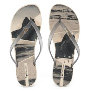 Chinelo Ipanema Wave Tropical Bege Preto - 25980