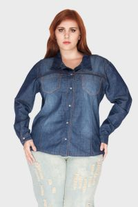 Camisa Jeans Hot Fix Plus Size