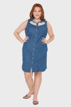 Vestido Denin Lace Plus Size