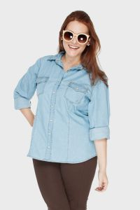 Camisa Plus Size Blue Jeans