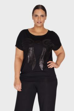 Blusa Bordado Paete Plus Size