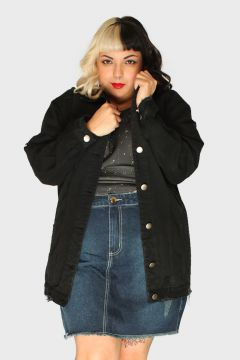Jaqueta Oversized Destroyed Plus Size