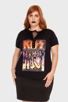 Camiseta Chocker Kiss Band Plus Size