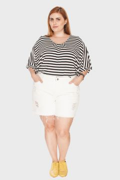 Short Destroyed Plus Size