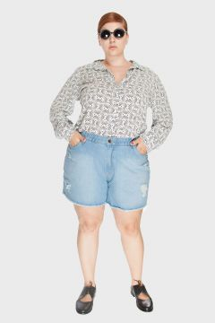 Short Jeans Upcycle Delavê Plus Size