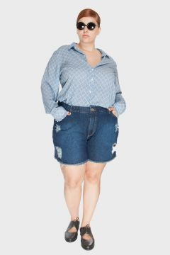 Short Jeans Upcycle Stone Plus Size