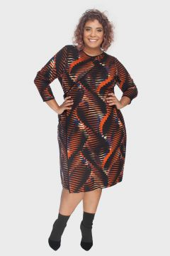 Vestido Transpasse Estampado Plus Size