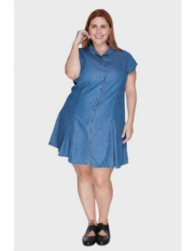 Vestido Liocel Recortes Plus Size - Attribute