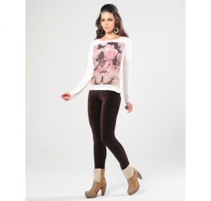 CALCA LEGGING VELUDO COTELE MARRON