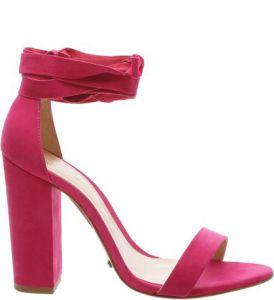 Sandália Block Heel Lace Up Bright Rose   SCHUTZ