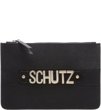 Clutch Golden Logo Black   SCHUTZ
